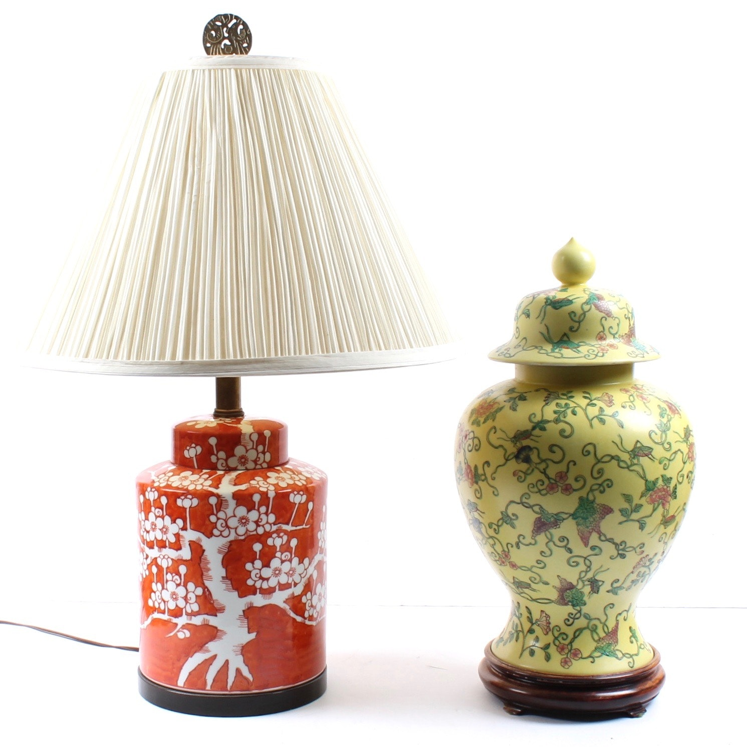 East Asian Ceramic Lamp and Lidded Vase