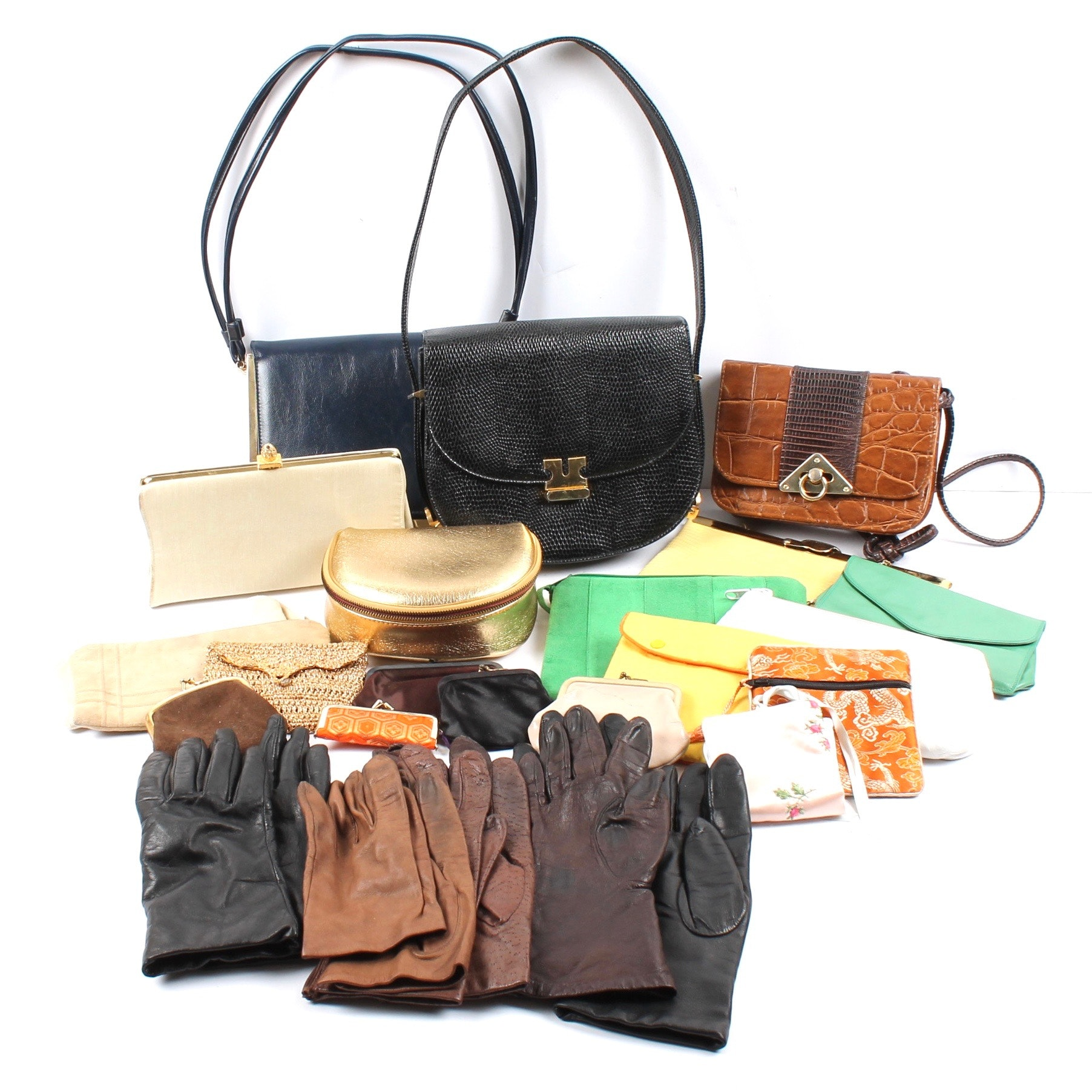 Vintage Handbags, Coin Purses, and Leather Gloves