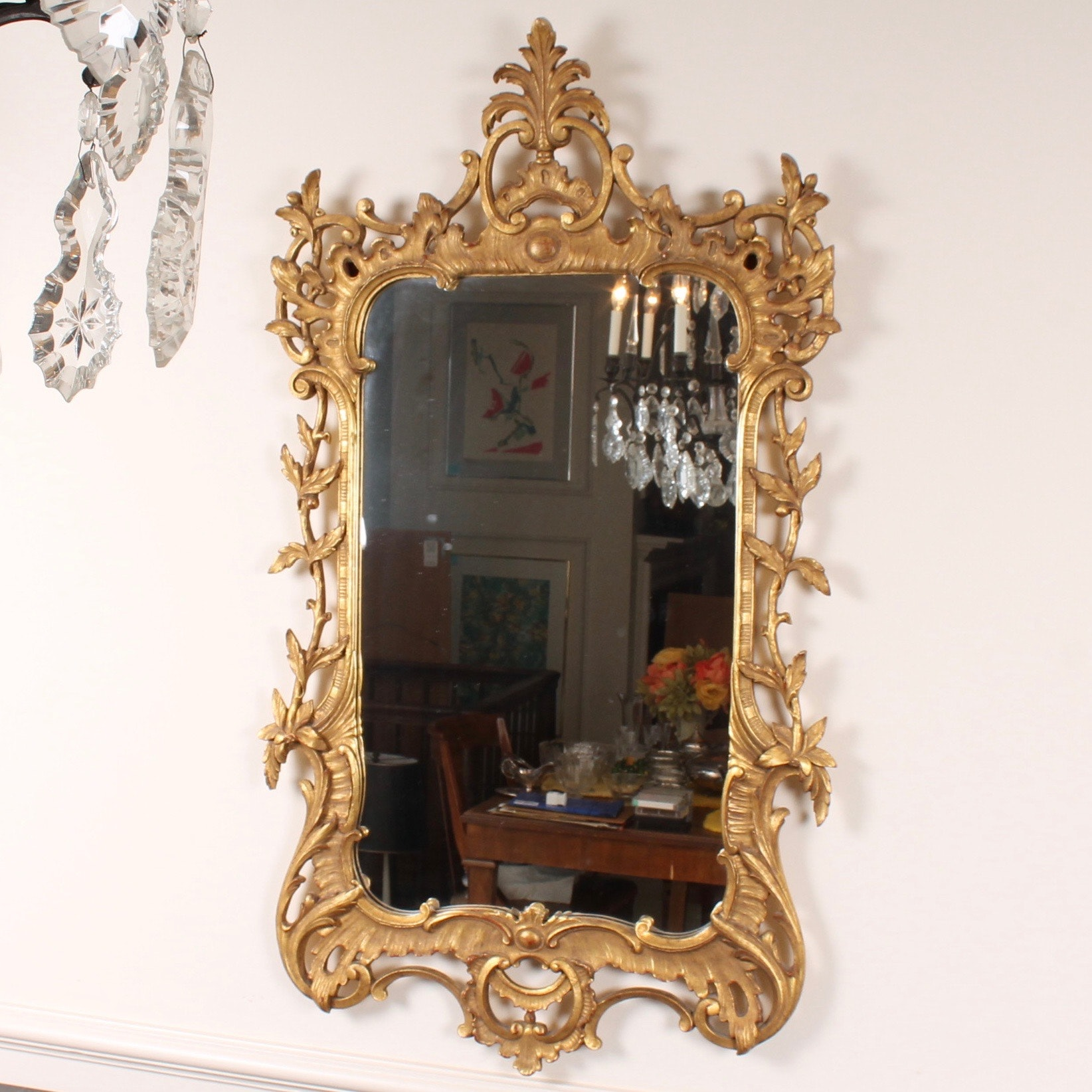 Antique French Hand-Carved Gilt Wall Mirror