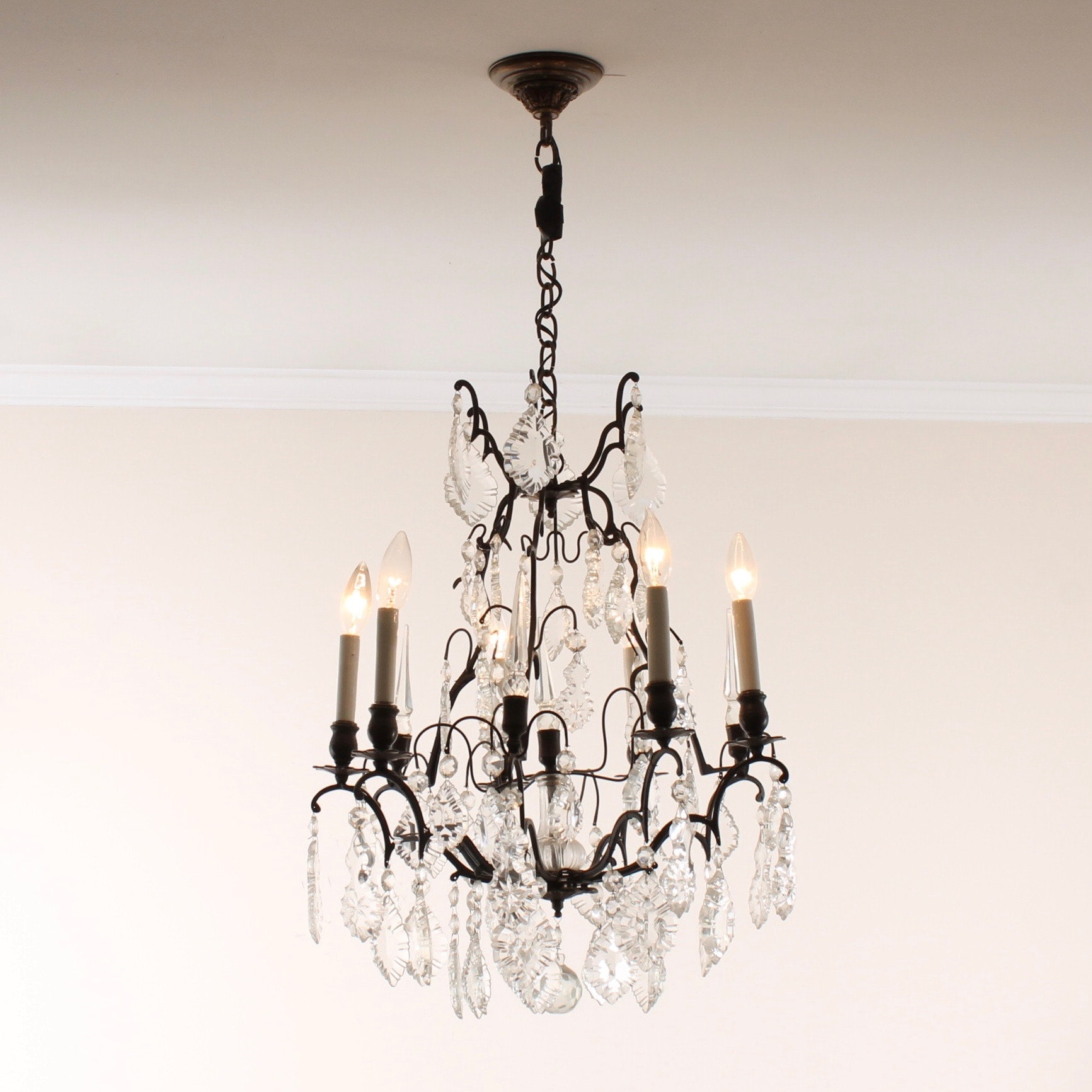 Vintage Wrought Metal and Lead Crystal Chandelier