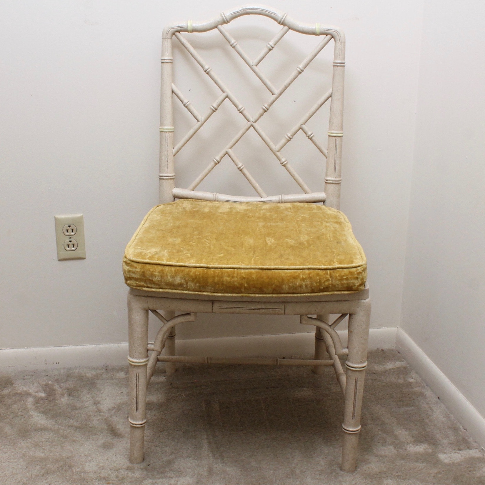 Vintage Hollywood Regency Style Chair with Caned Seat