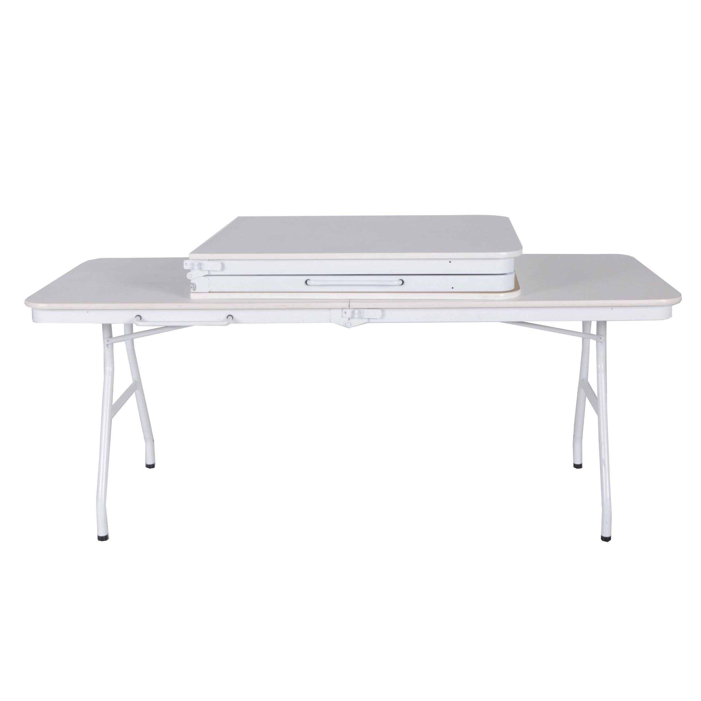 White Laminate Folding Banquet Tables by Meco