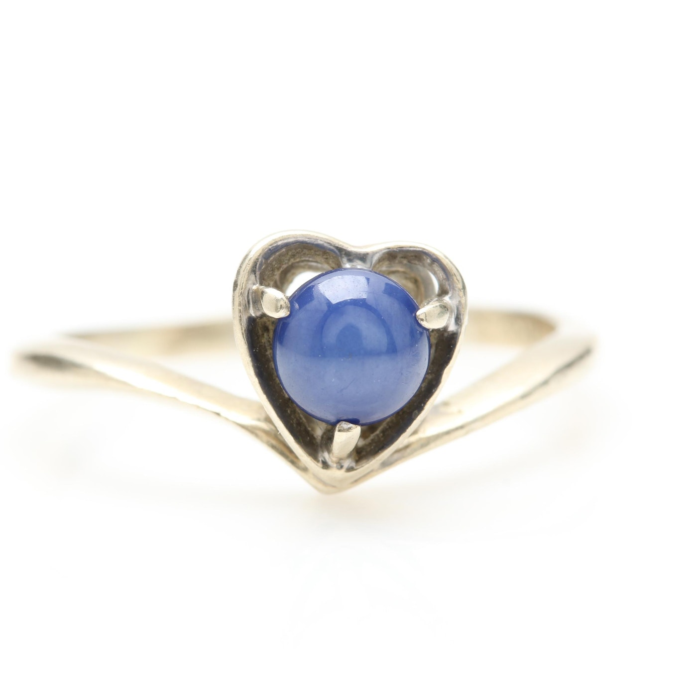 10K White Gold Synthetic Star Sapphire Ring | EBTH