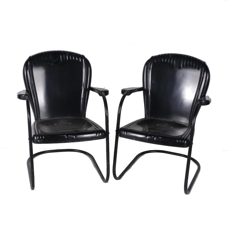 Vintage Black Metal Patio Chairs
