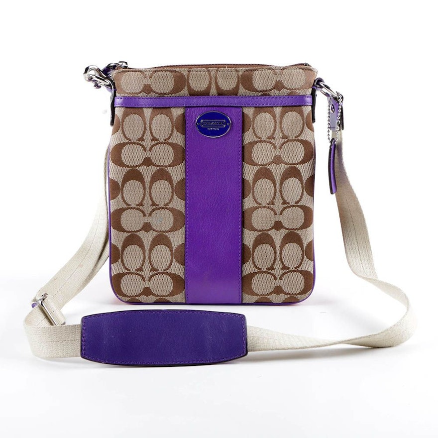 Coach Signature Stripe Canvas and Leather Crossbody Bag   EBTH 462712a9afb8d