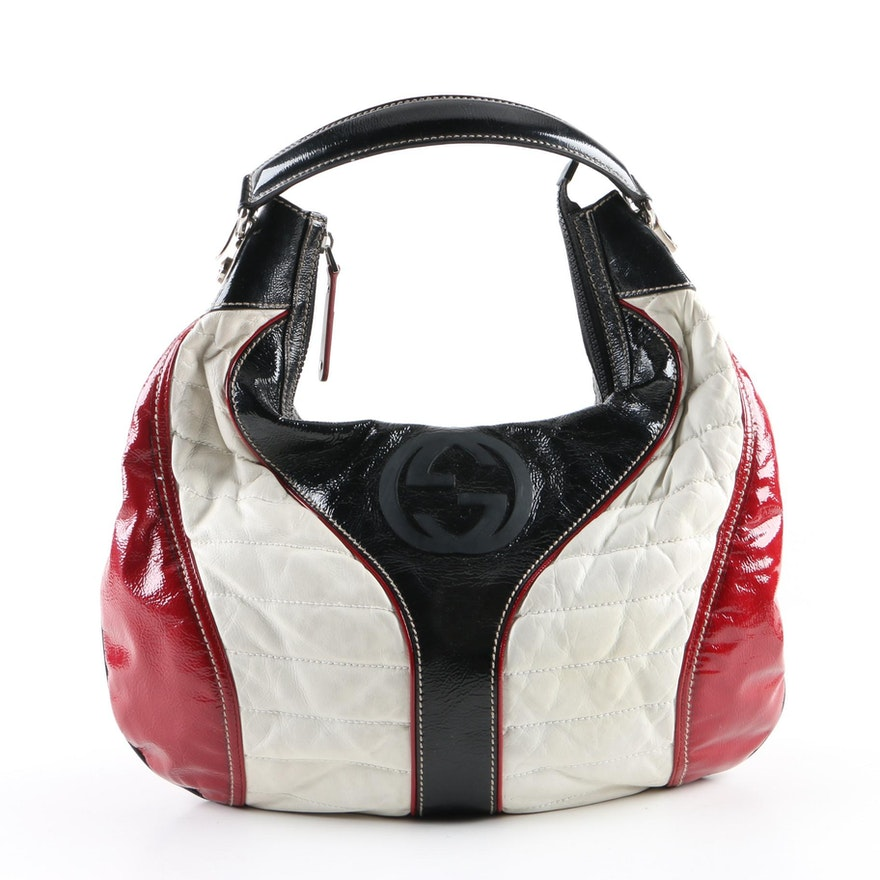 Gucci Snow Glam Black, White and Red Leather Hobo Bag   EBTH 006a45c6be