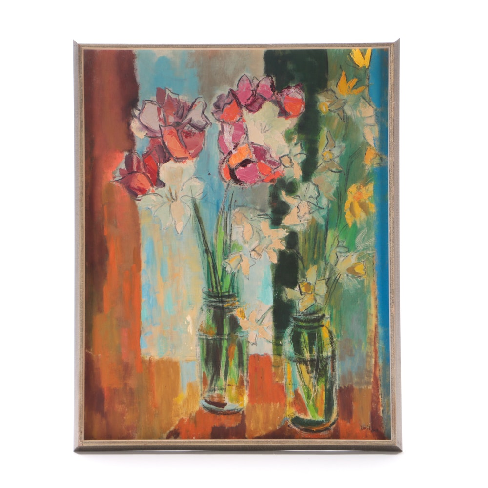 "Lucille Vintage Oil Painting on Canvas Board ""Daffodils and Tulips"""
