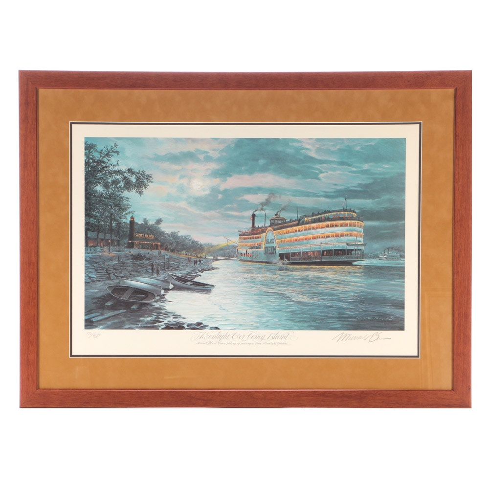 """Michael Blaser Signed Limited Edition Offset Lithograph """"Moonlight Over Coney.."""""""