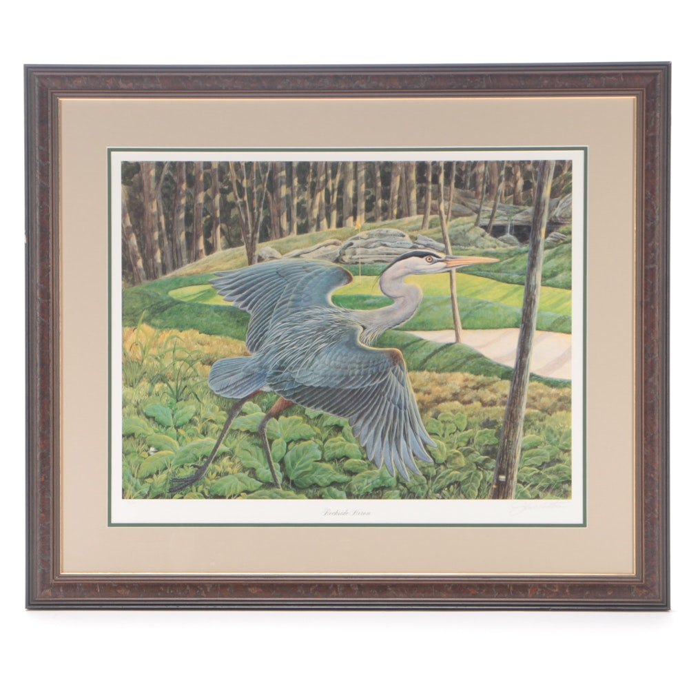 "John Ruthven Signed Limited Edition Offset Lithograph ""Rockside Heron"""