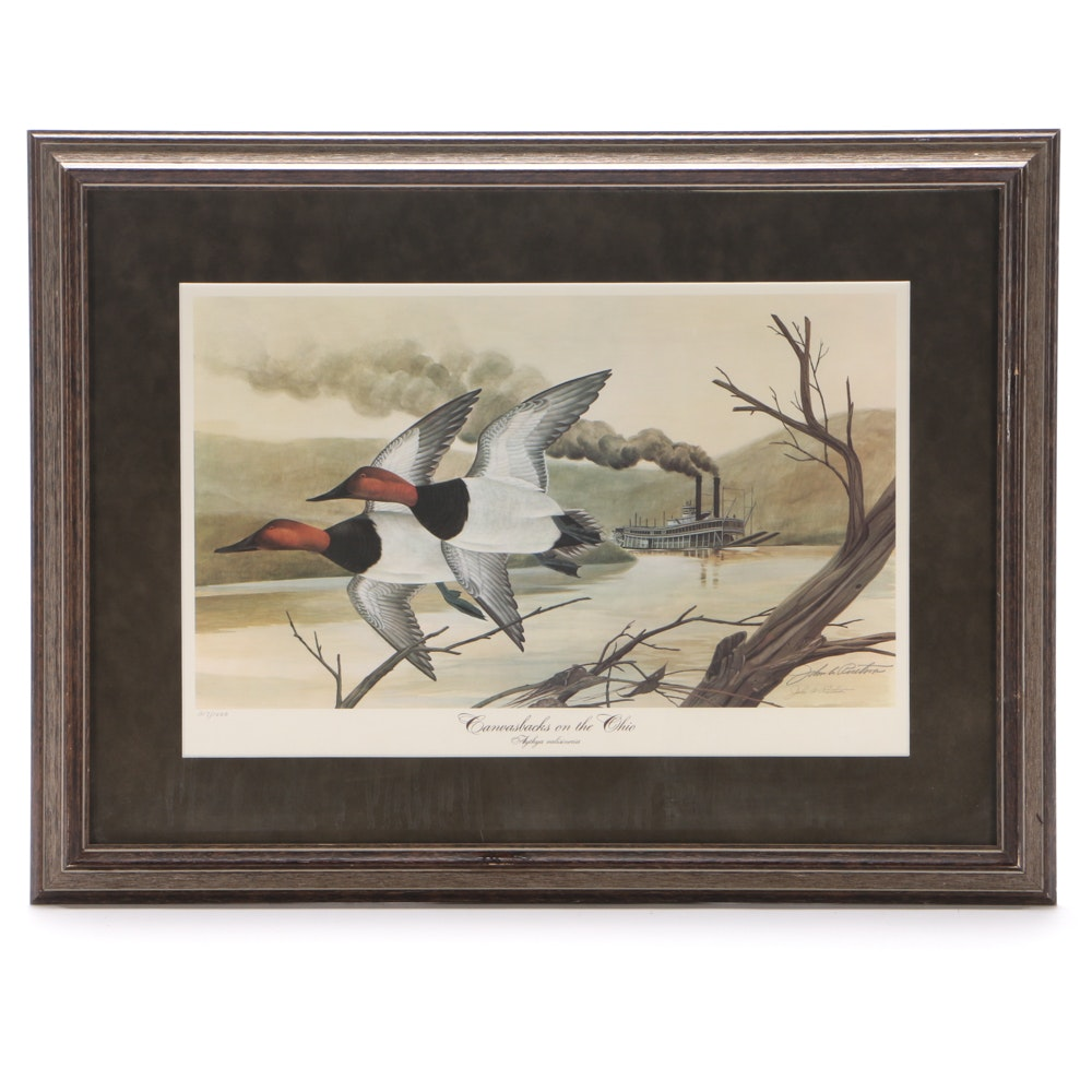 """John Ruthven Limited Edition Offset Lithograph """"Canvasbacks on the Ohio"""""""