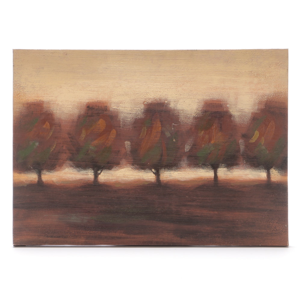 Abstract Acrylic on Canvas Painting of Trees