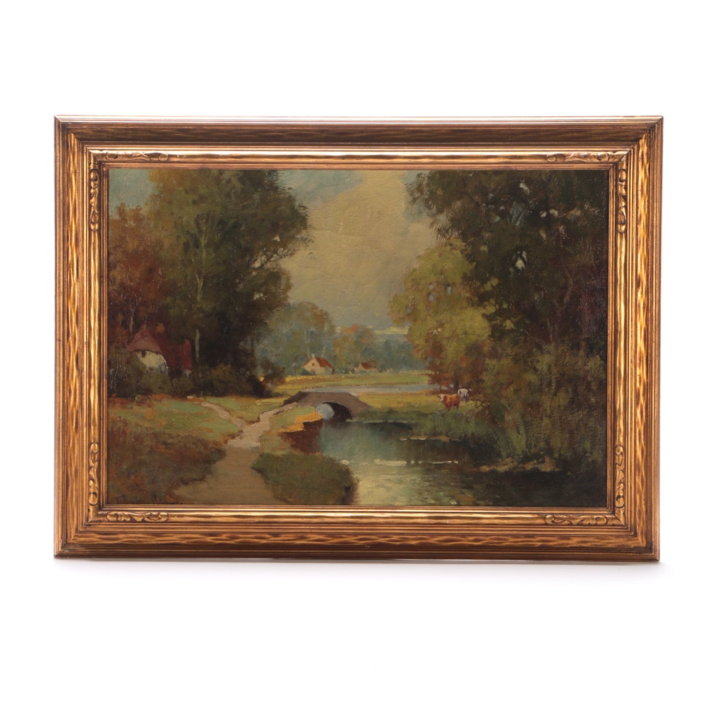 George Thompson Pritchard Oil on Canvas Landscape Painting