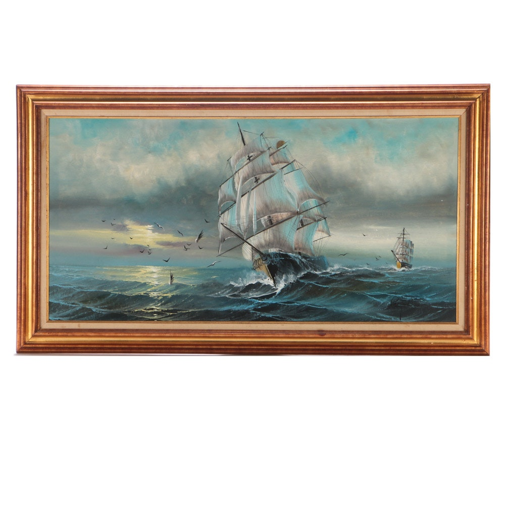 Preston Willis Original Nautical Oil on Canvas Painting