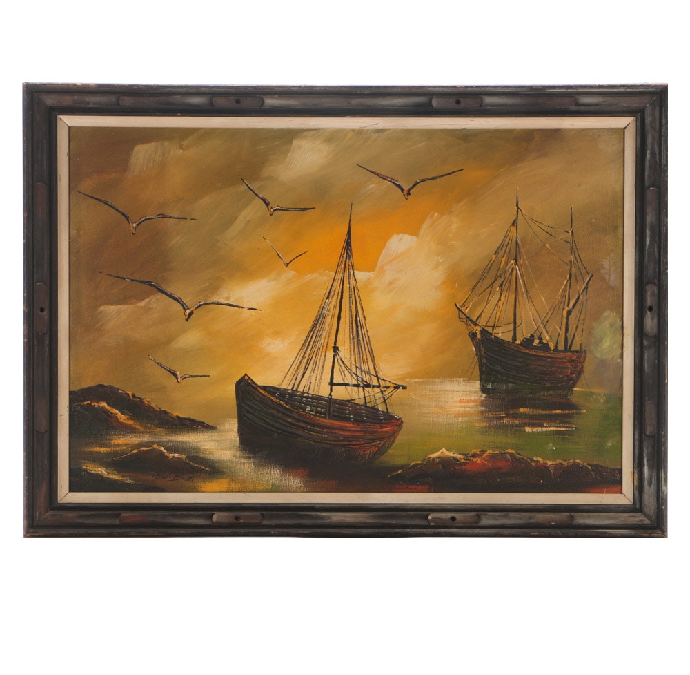 MaBon Oil Painting on Canvas of Wooden Ships in Harbor