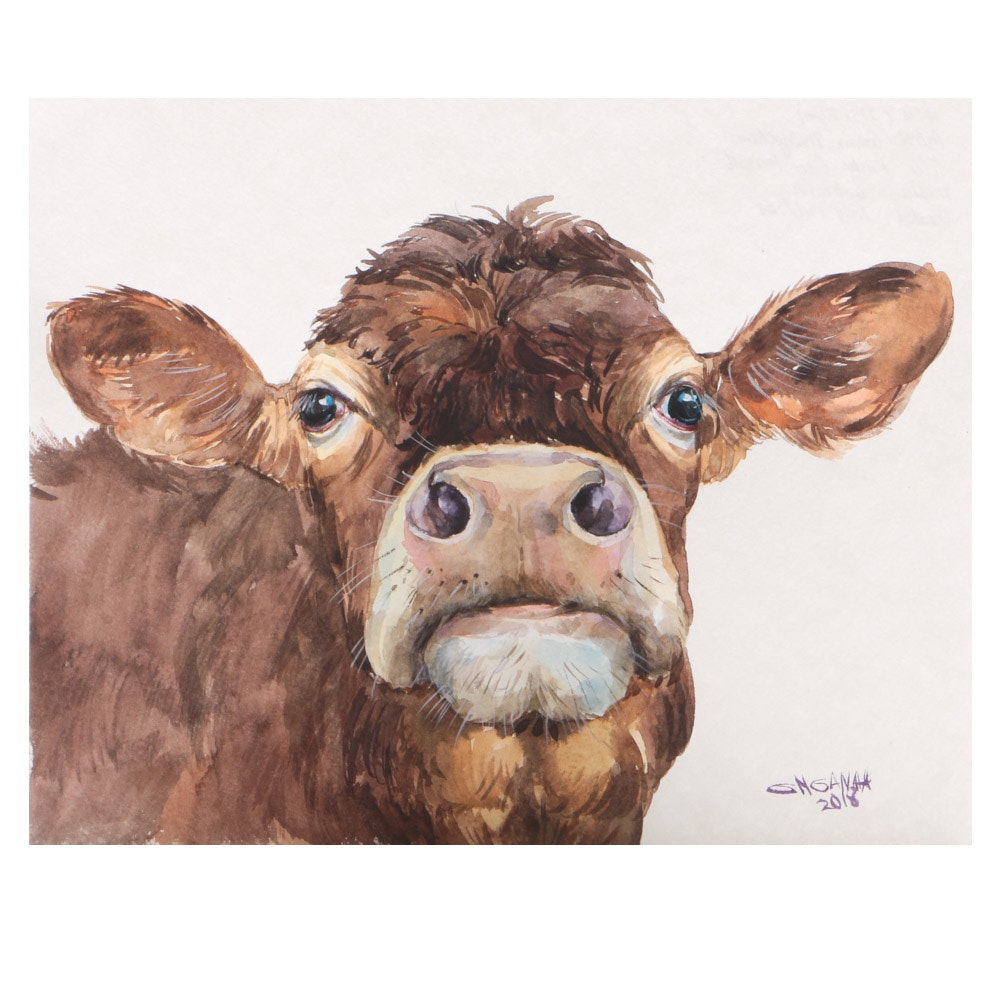 "Ganna Melnychenko Original Watercolor ""Rusty Cow Portrait"""