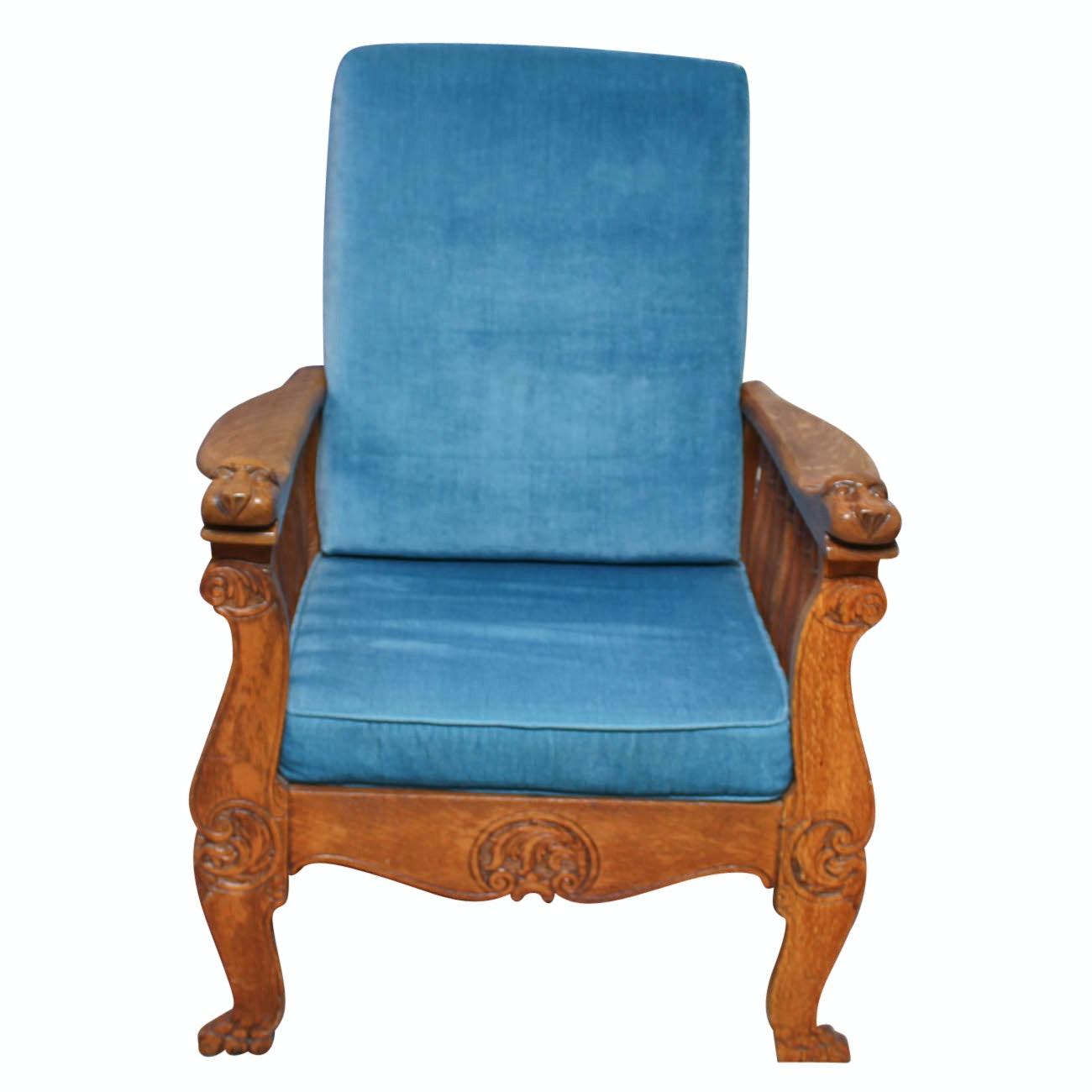 Vintage Oak Morris Chair with Carved Lion Hand Rests