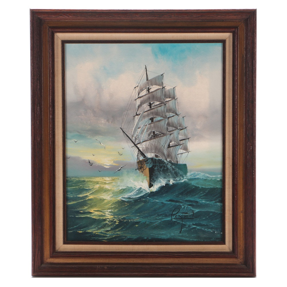 Preston Willis Nautical Oil on Canvas Painting