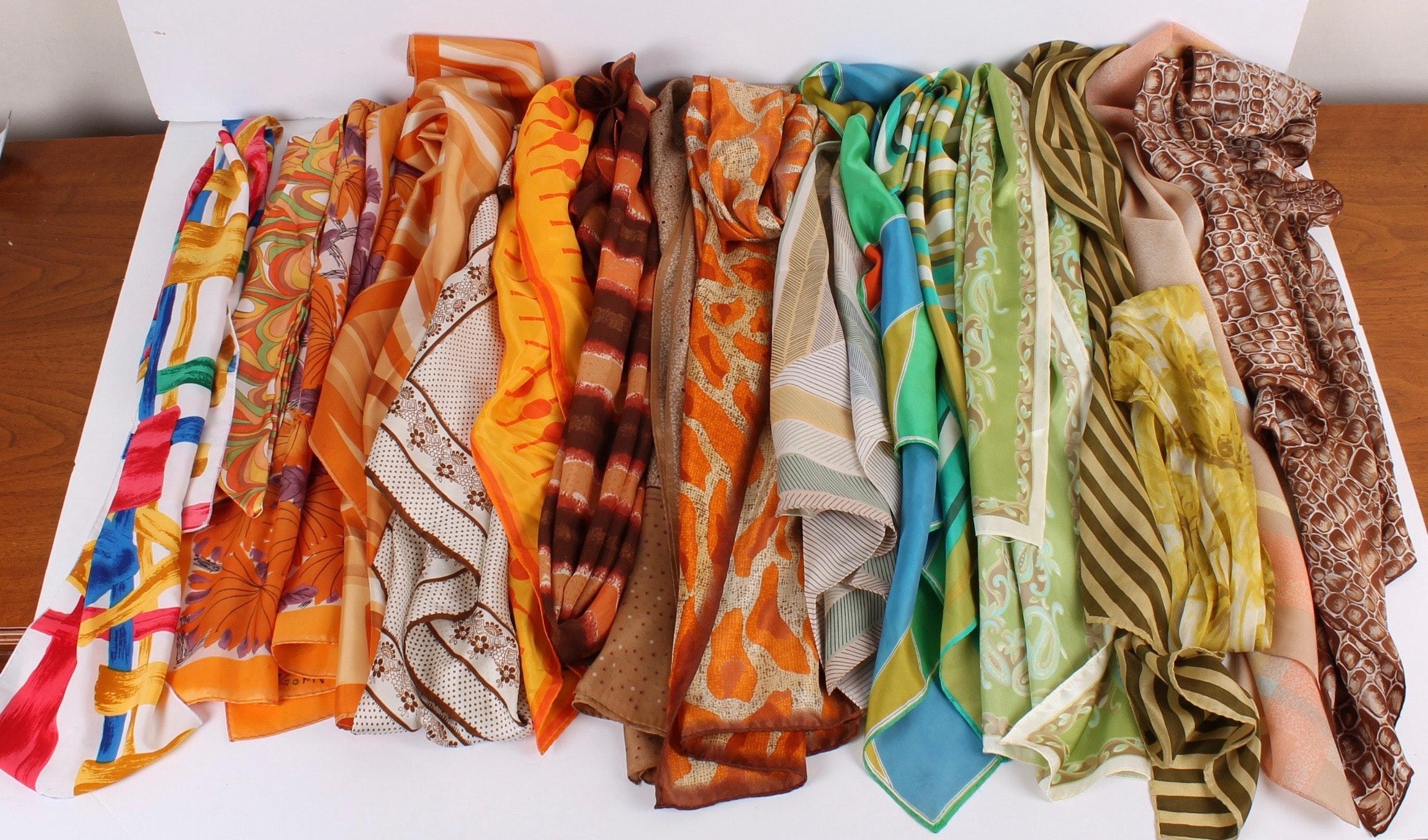 Vintage Fashion Scarves Including Silk