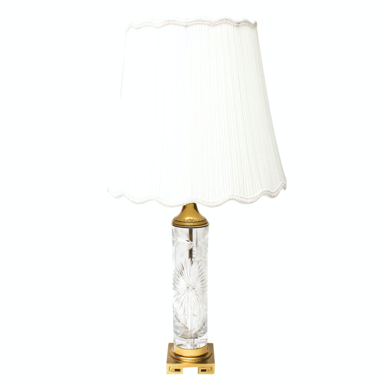 Crystal and Brass Table Lamp