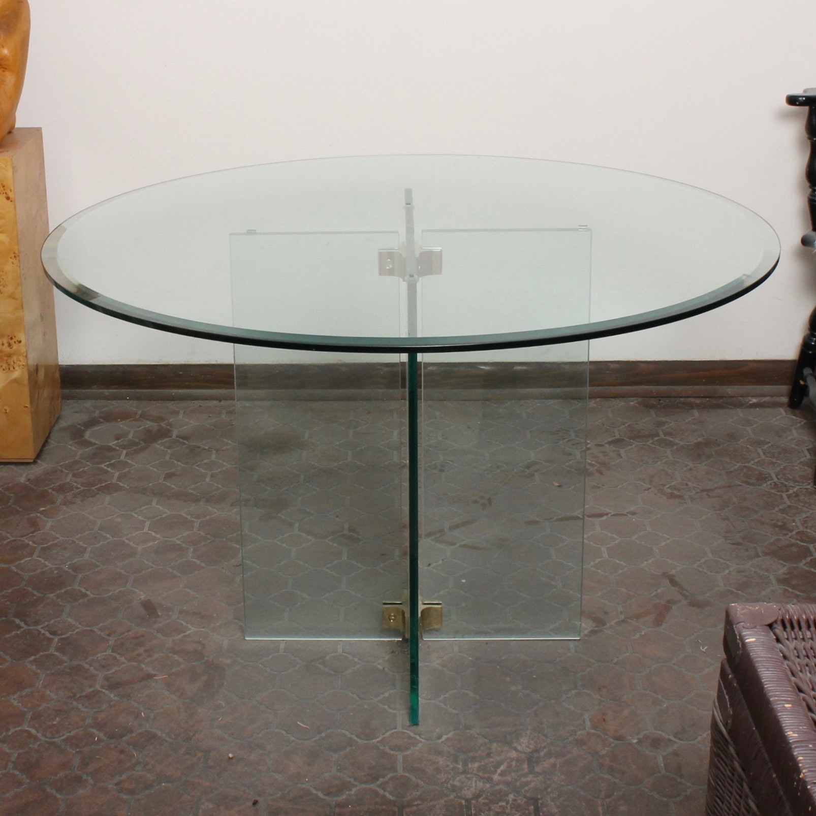 Contemporary Glass Pedestal Table