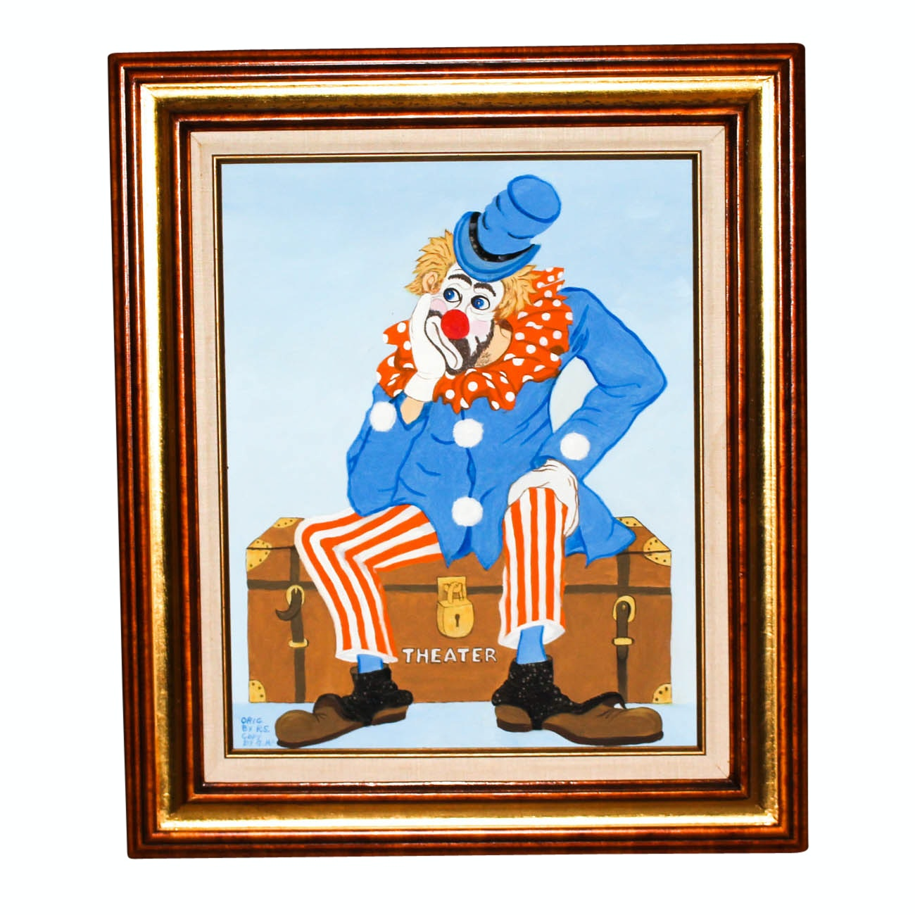 G. McDonough Oil Painting of Theater Clown