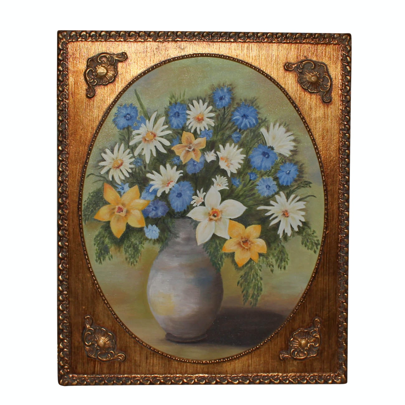 G. McDonough Oil Painting of Vase with Flowers