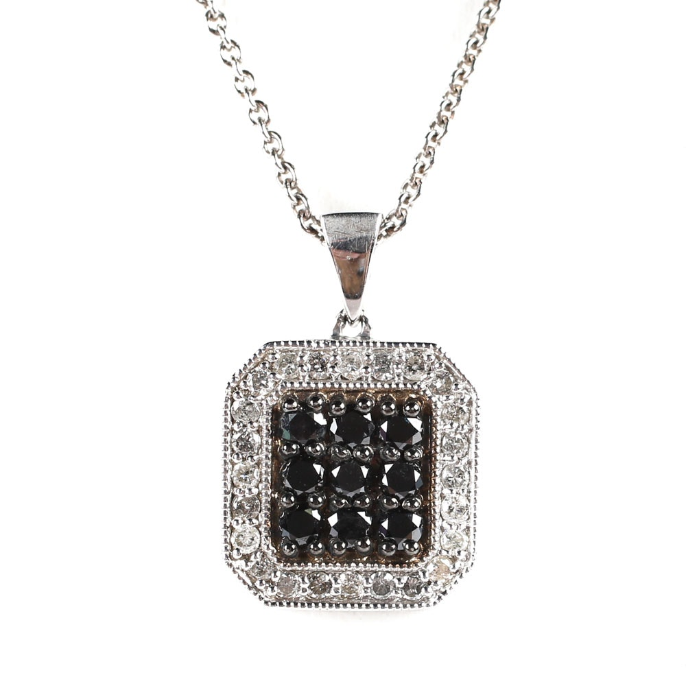 Sterling Silver and 1.42 CTW Diamond Cluster Pendant Necklace Necklace
