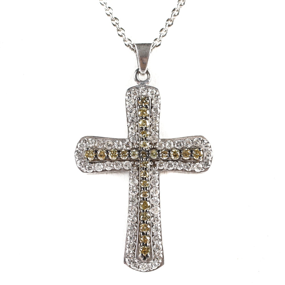 Sterling Silver and 1.12 CTW Diamond Cross Pendant Necklace