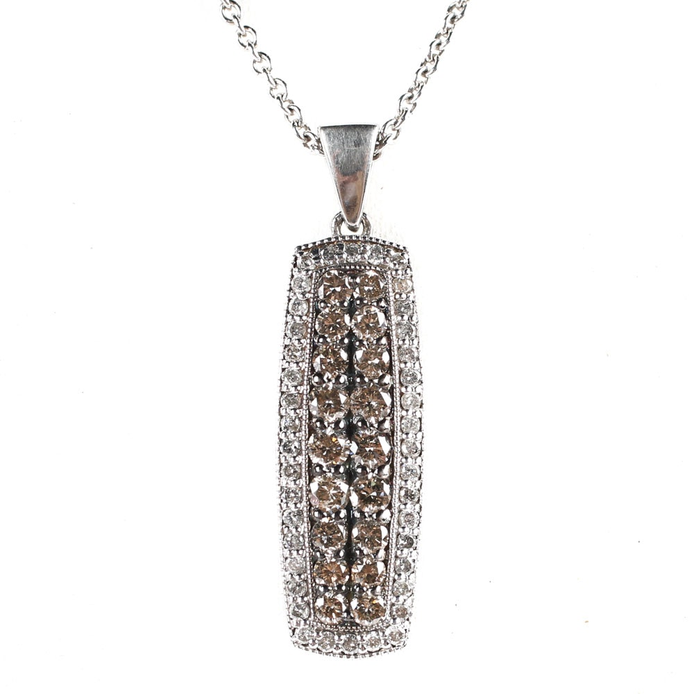 Sterling Silver and 1.29 CTW Diamond Bar Style Pendant Necklace