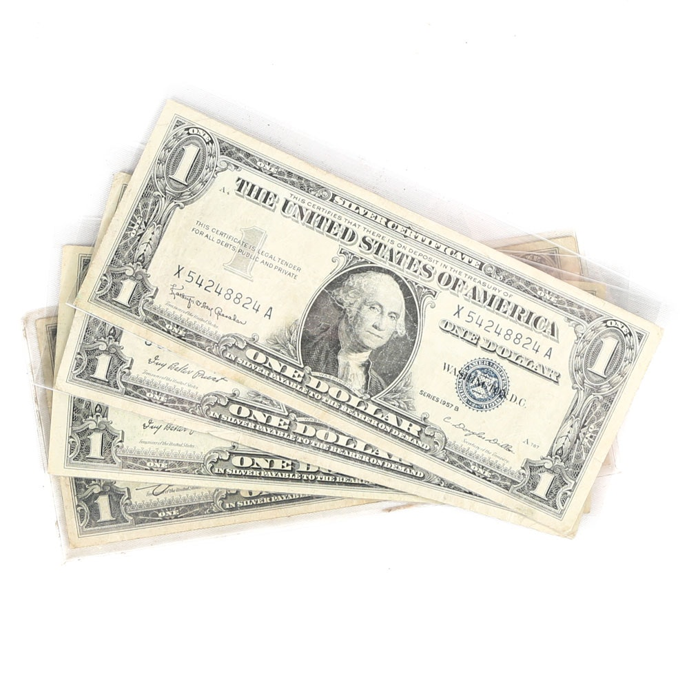 Four One-Dollar US Silver Certificates