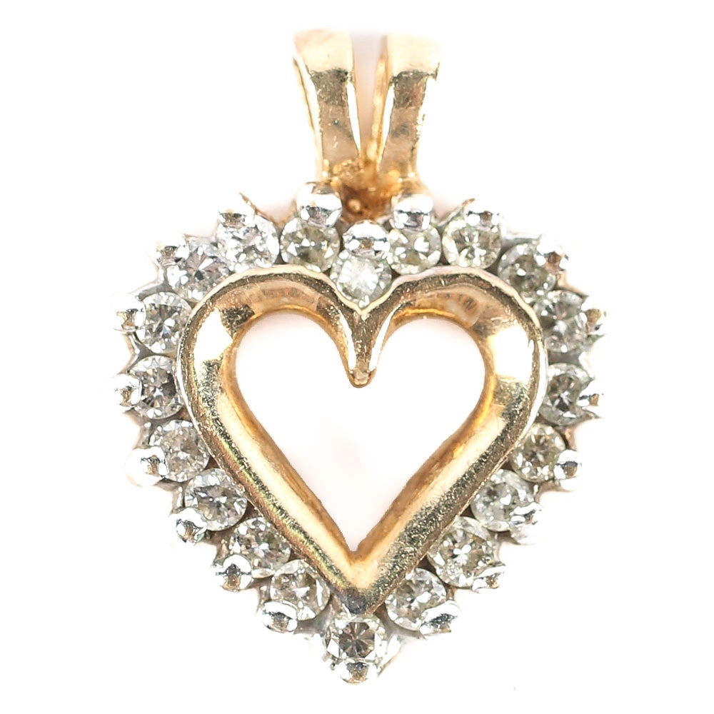 10K Yellow Gold and Diamond Heart Pendant