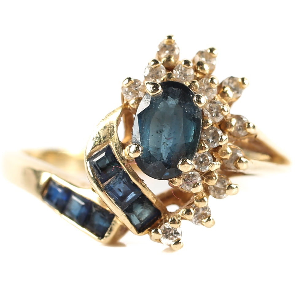14K Yellow Gold, 1.00 CTW Sapphire, and Diamond Ring