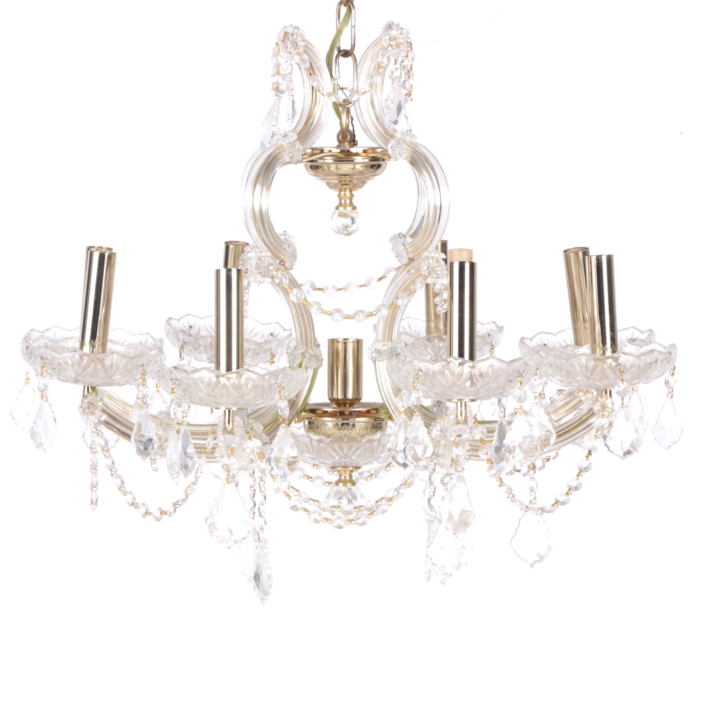 Spanish Crystal, Glass and Brass Chandelier
