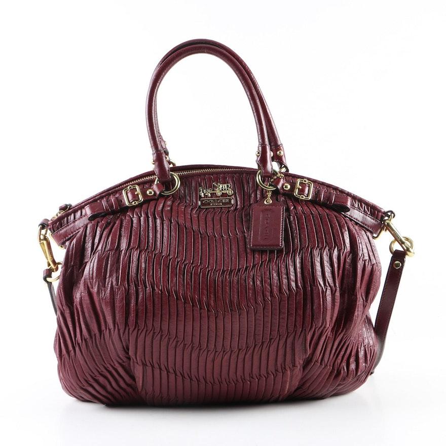 Coach Sophia Madison Gathered Burgundy Leather Handbag
