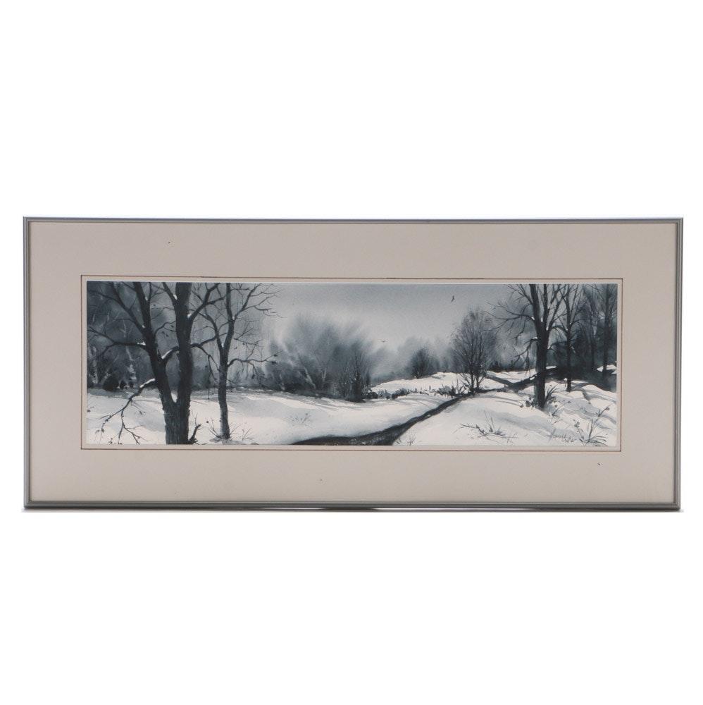 "Harold Miller Original Watercolor Landscape on Paper ""Winter in Payne's Grey"""