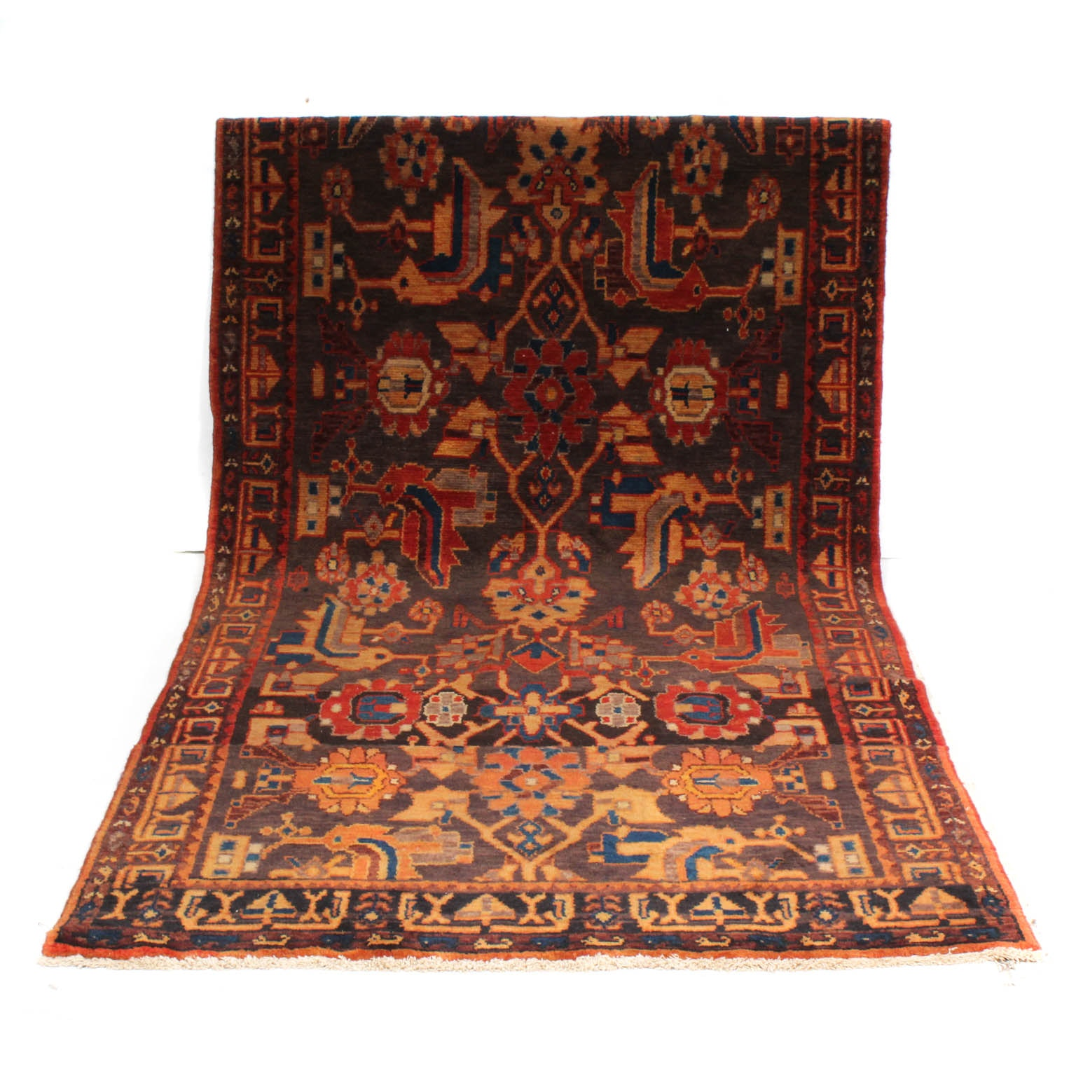 Vintage Hand-Knotted Pieced Persian Lilihan Sarouk Rug