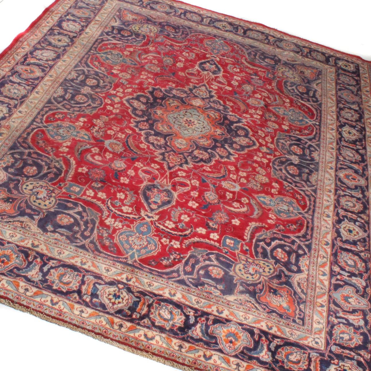 Vintage Hand-Knotted Persian Mashhad Rug