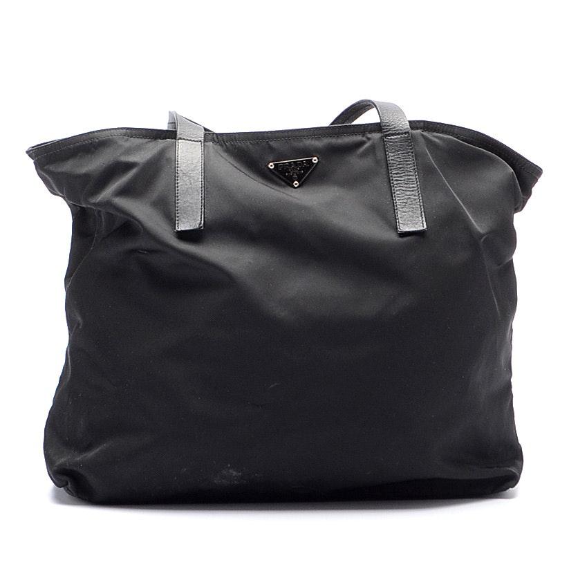 Vintage Prada Black Nylon Tote Handbag