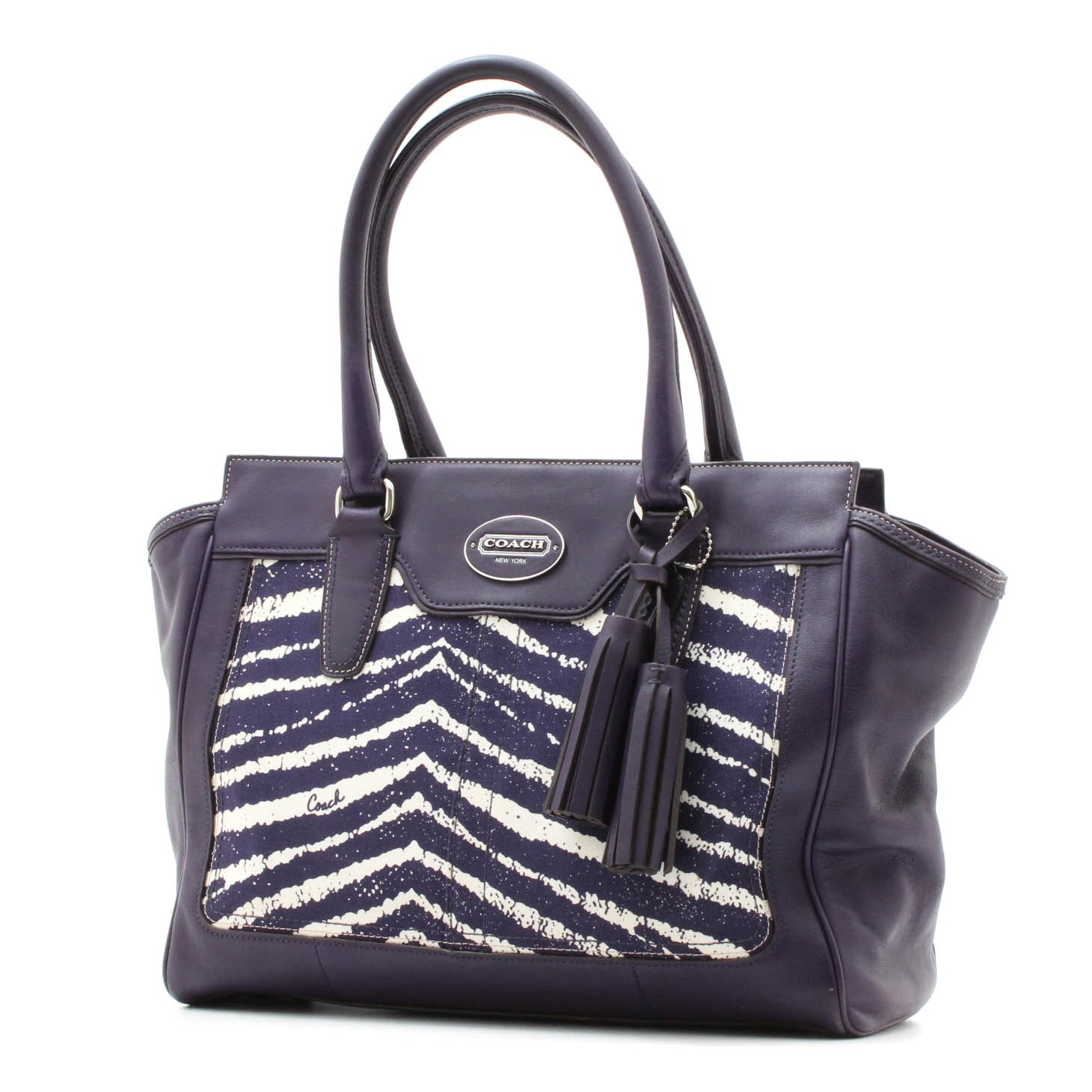 Coach Purple Legacy Candace Carryall Leather Handbag