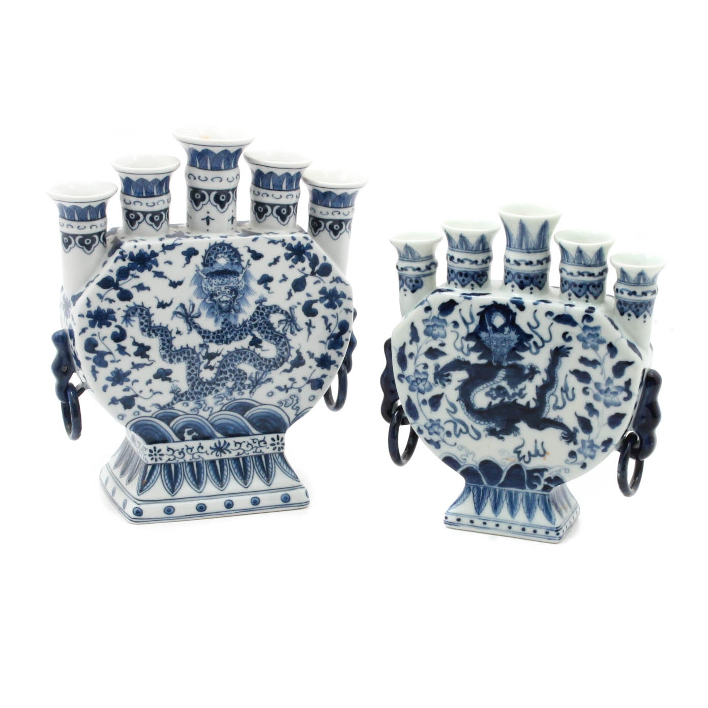 Chinese Blue and White Dragon Motif Tulip Vases