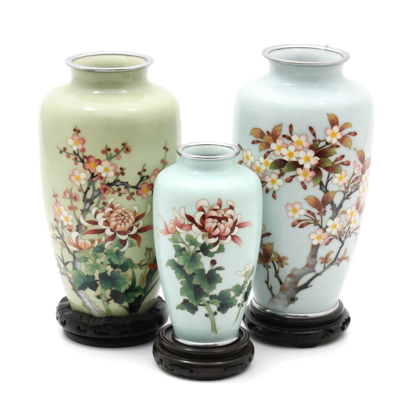 Vintage Japanese Cloisonne Vases