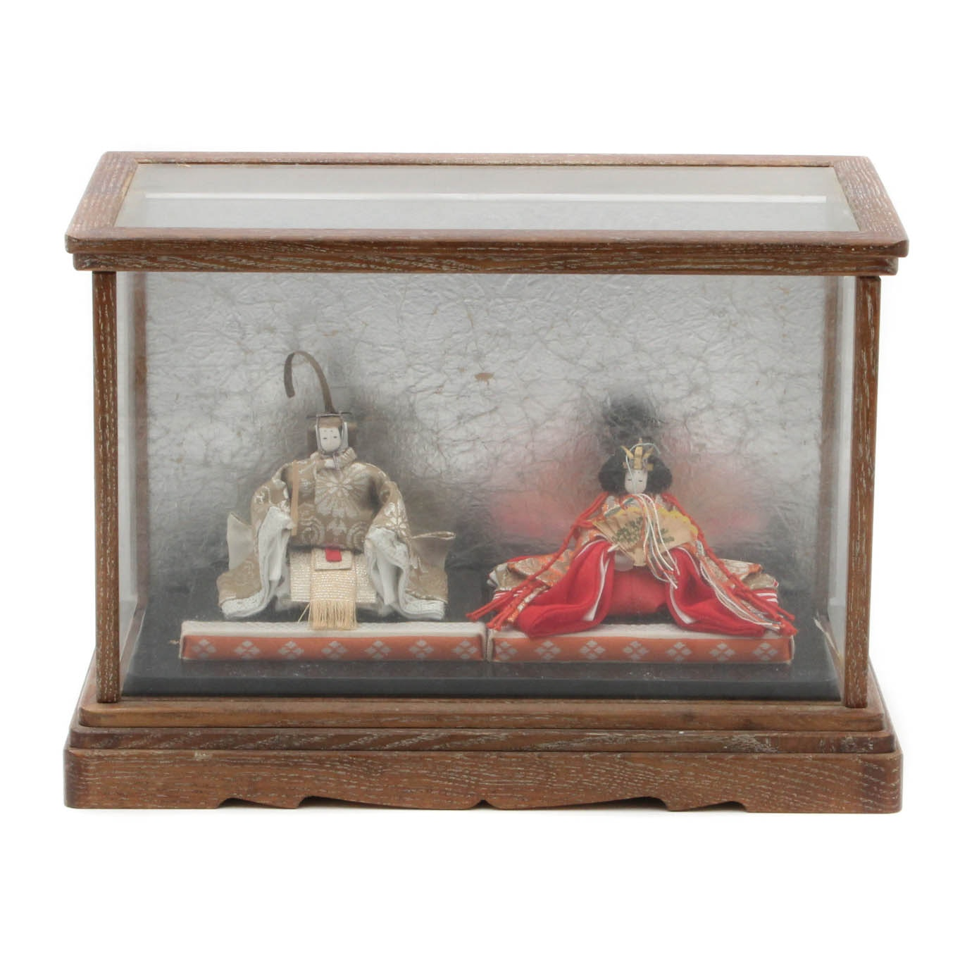 Miniature Japanese Emporer and Empress Dolls in Glass Case