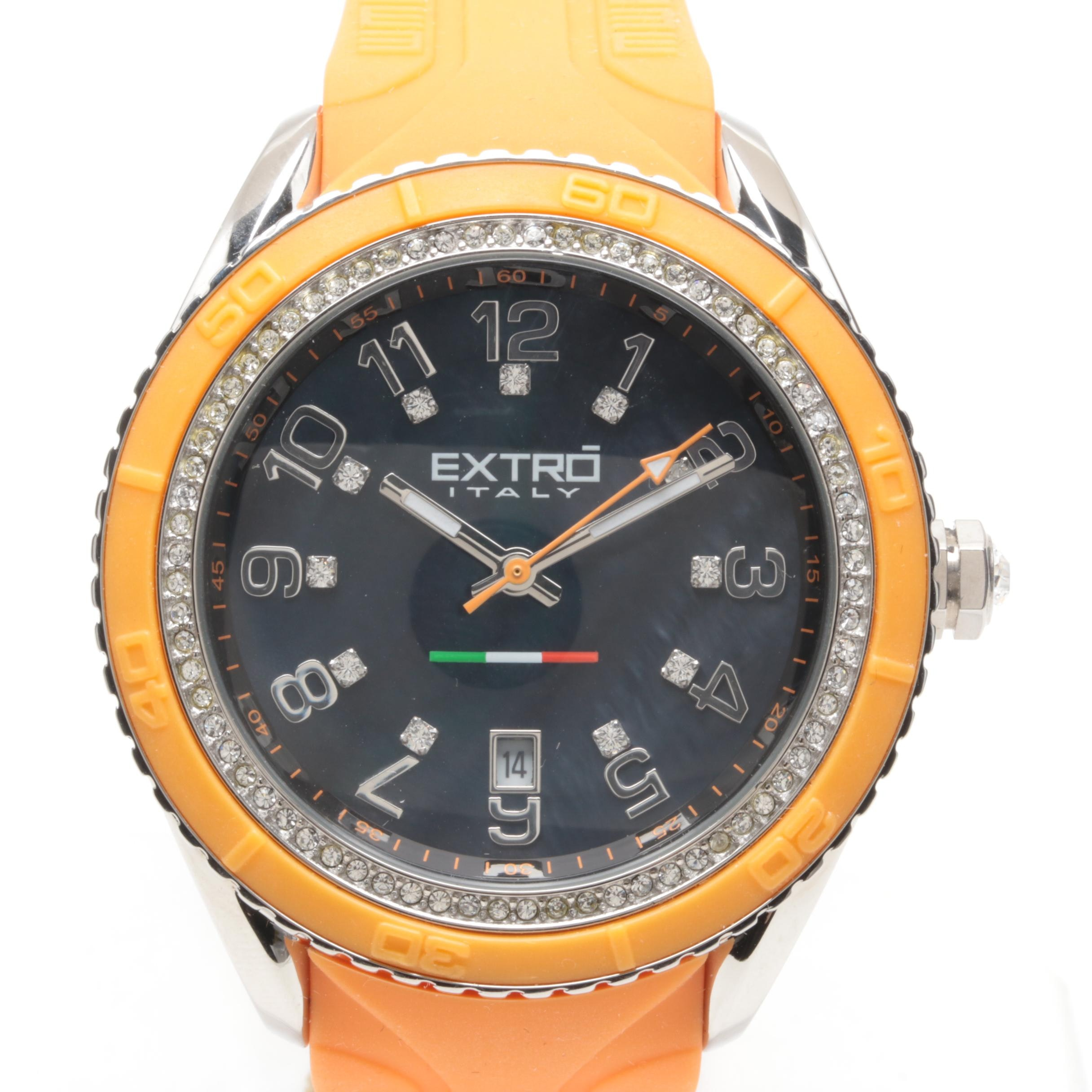 Extro Stainless Steel and Rubber Wristwatch with Glass Crystals