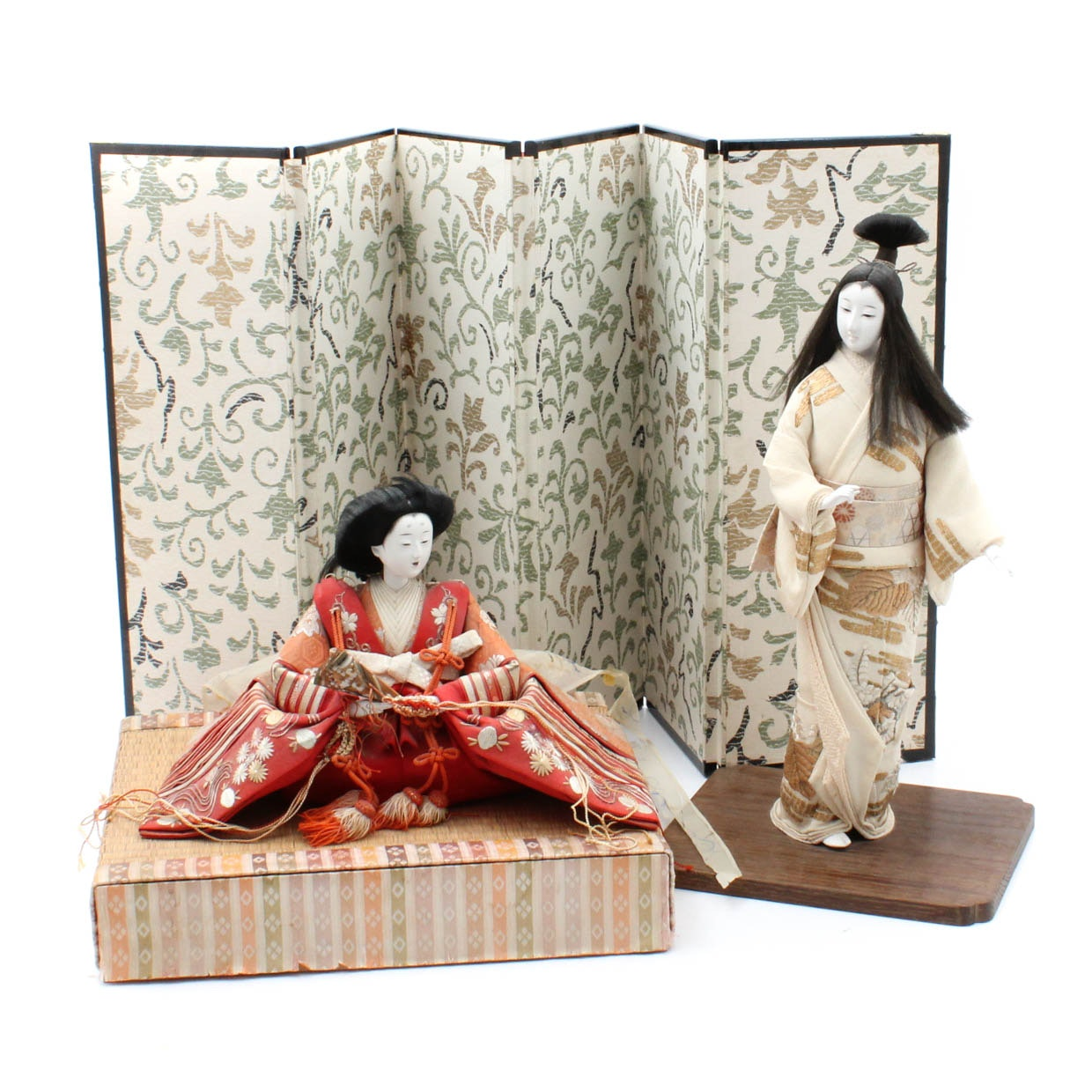 Japanese Wood and Silk Dolls