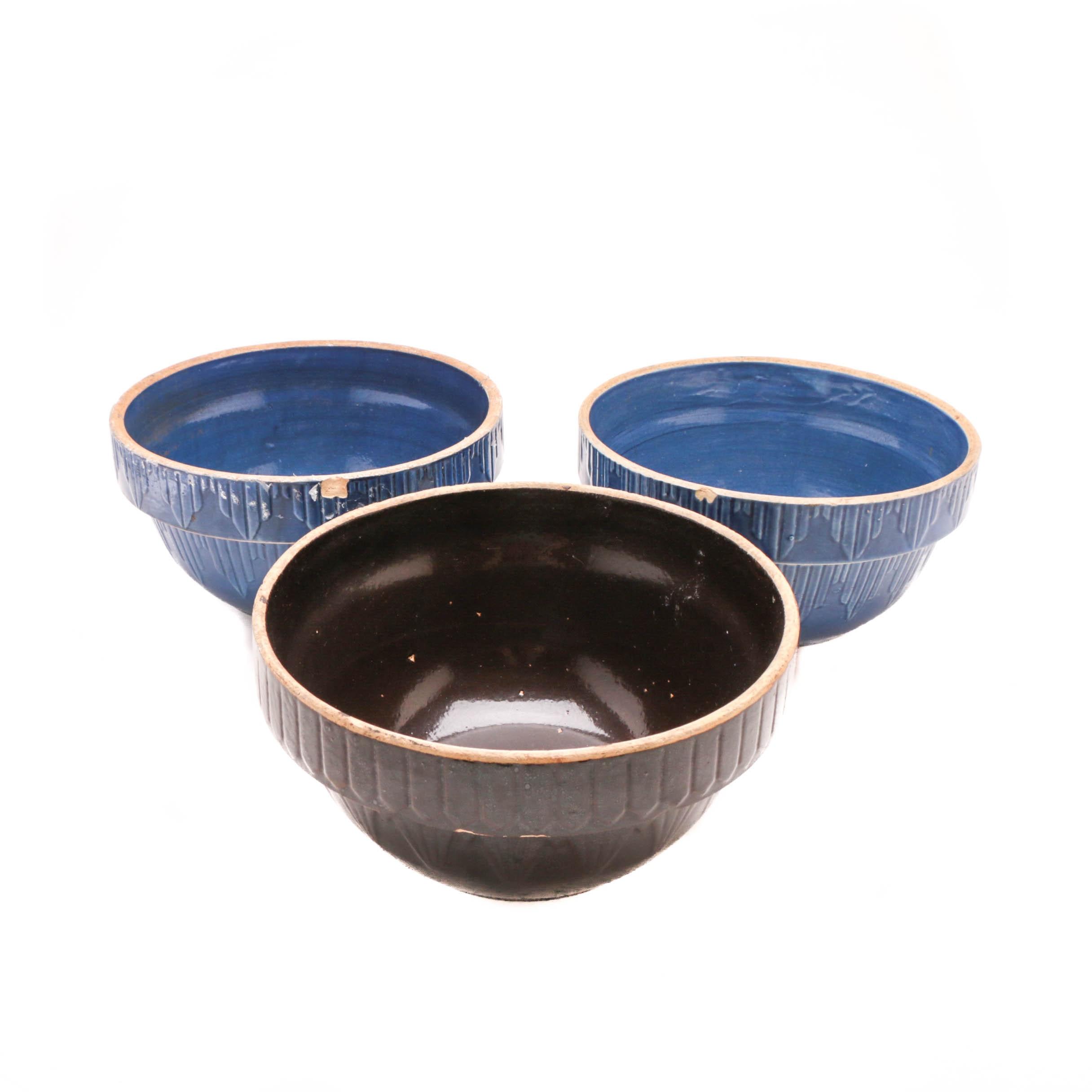 Three Art Deco Pottery Mixing Bowls