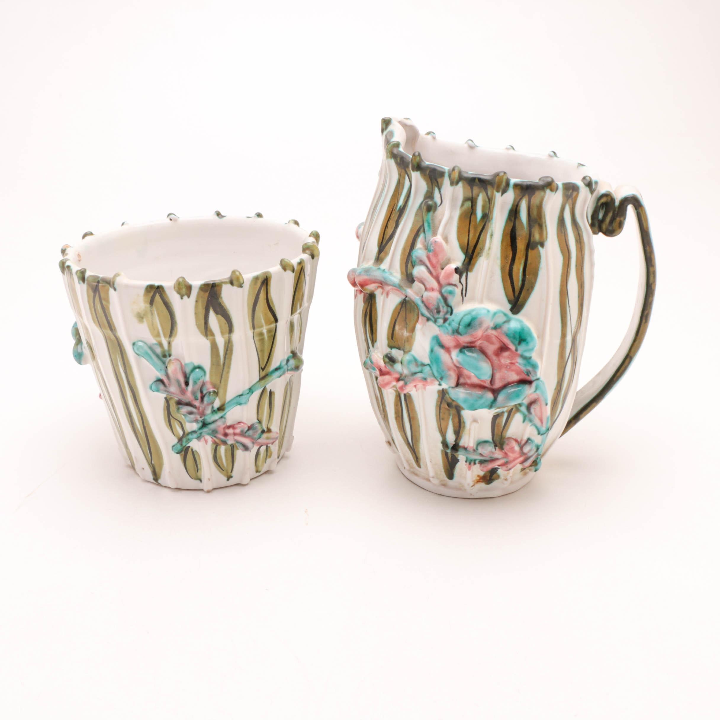 Italian Tin-Glazed Pottery Pitcher and Planting Pot