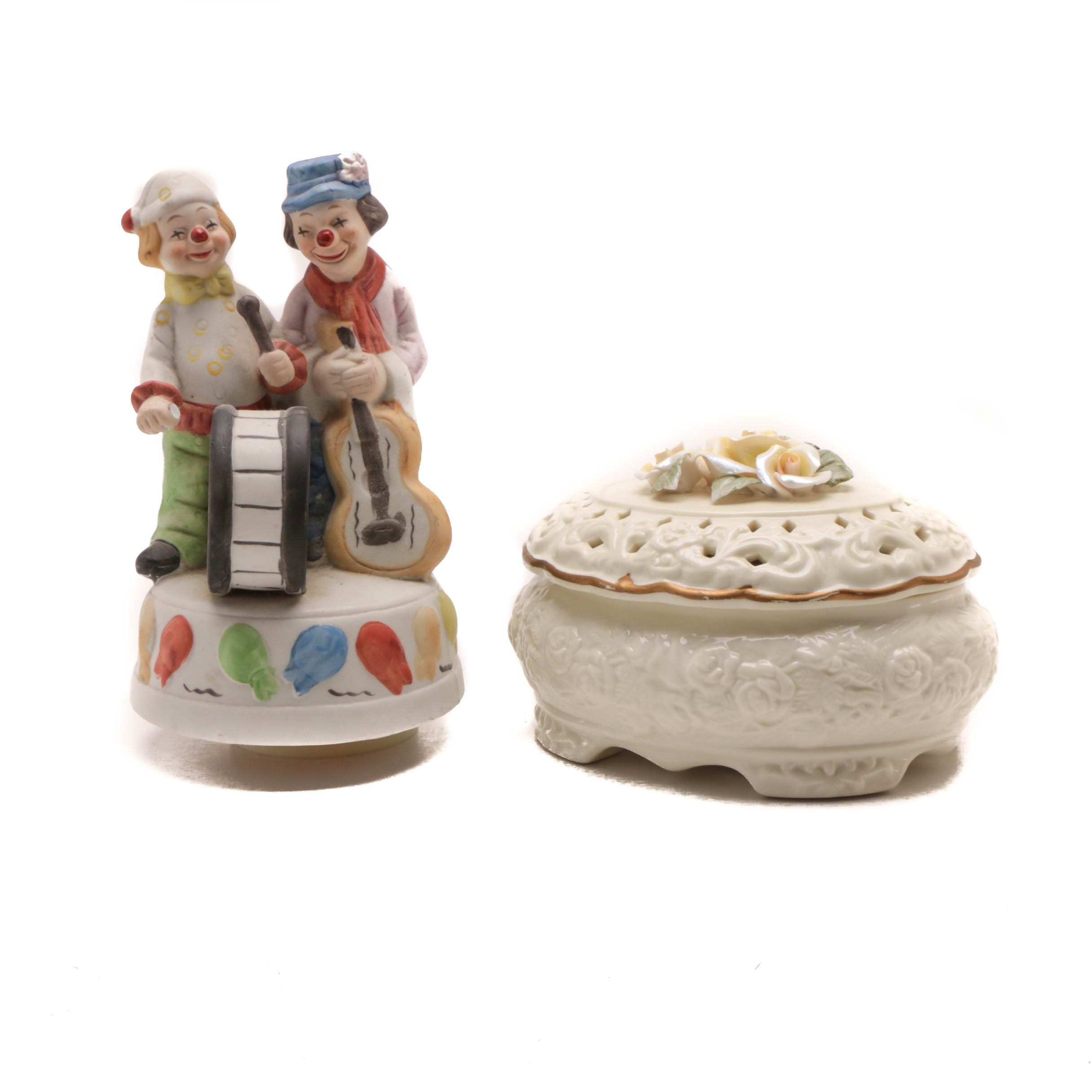 Bisque Clown Musical Figurine and More