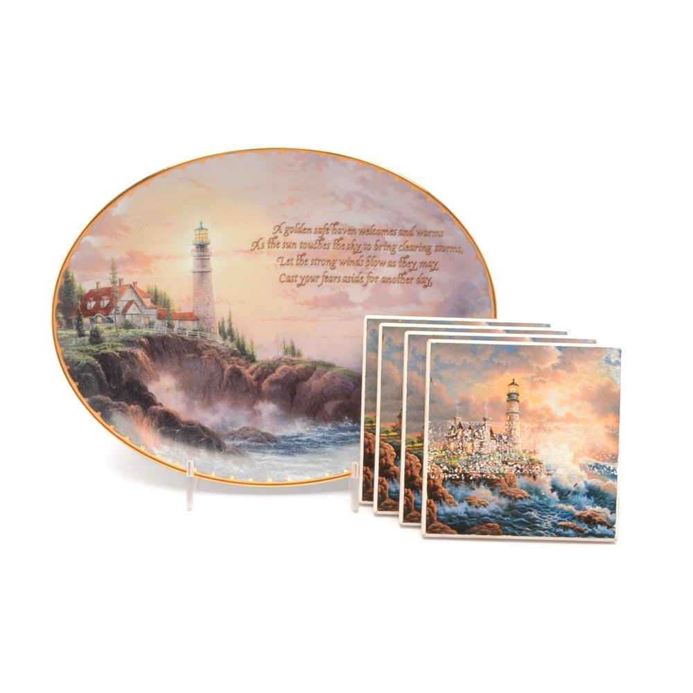 Thomas Kinkade Collector Plate and Nautical Coasters