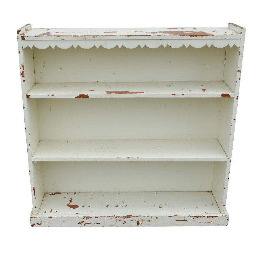 White Painted Wooden Bookcase