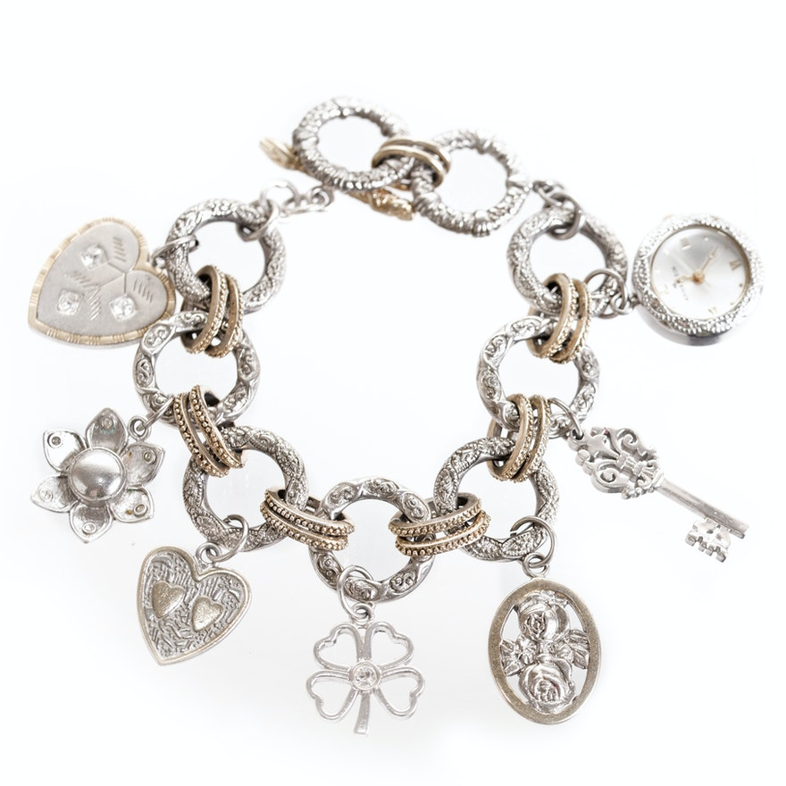 Anne Klein  Gold and Silver Tone Rhinestone Charm Bracelet With a Watch